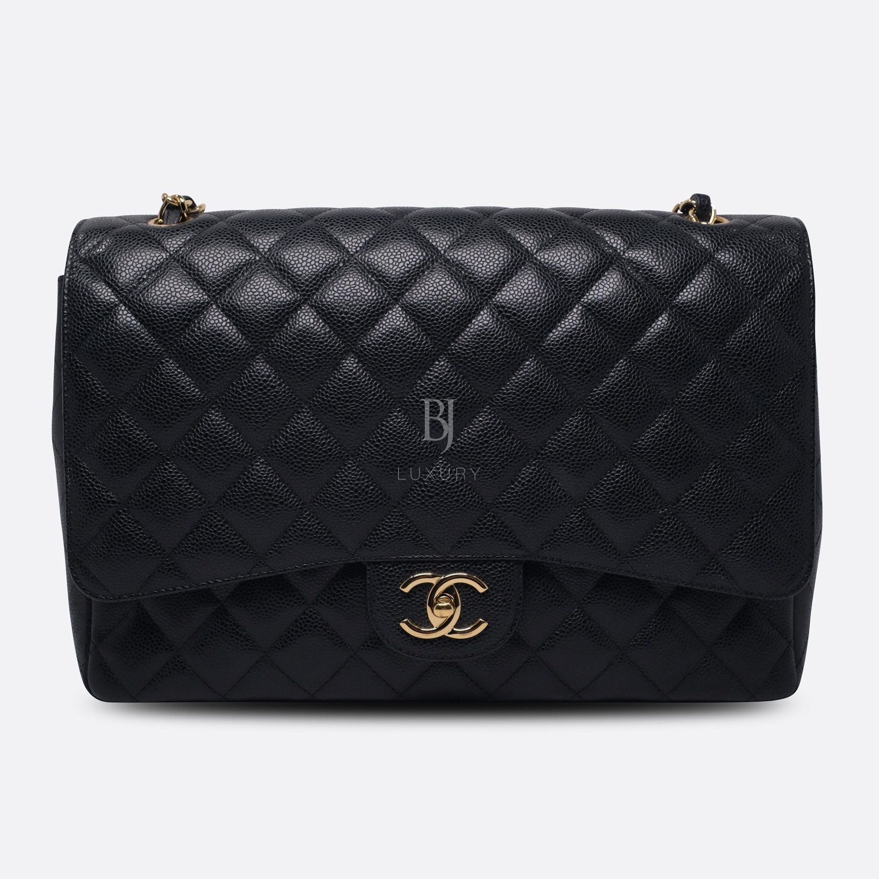 Chanel Classic Handbag Caviar Maxi Black BJ Luxury 1.jpg