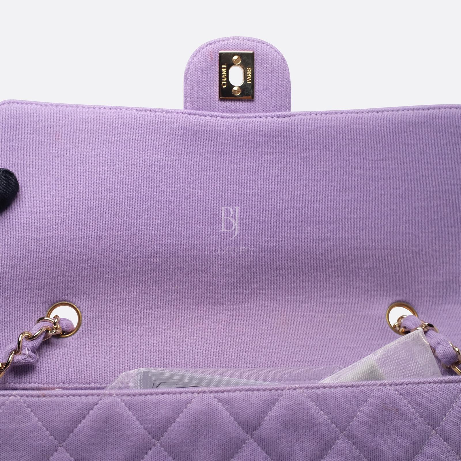 Chanel Flap Bag Medium Jersey Gold Lilac BJ Luxury 13.jpg