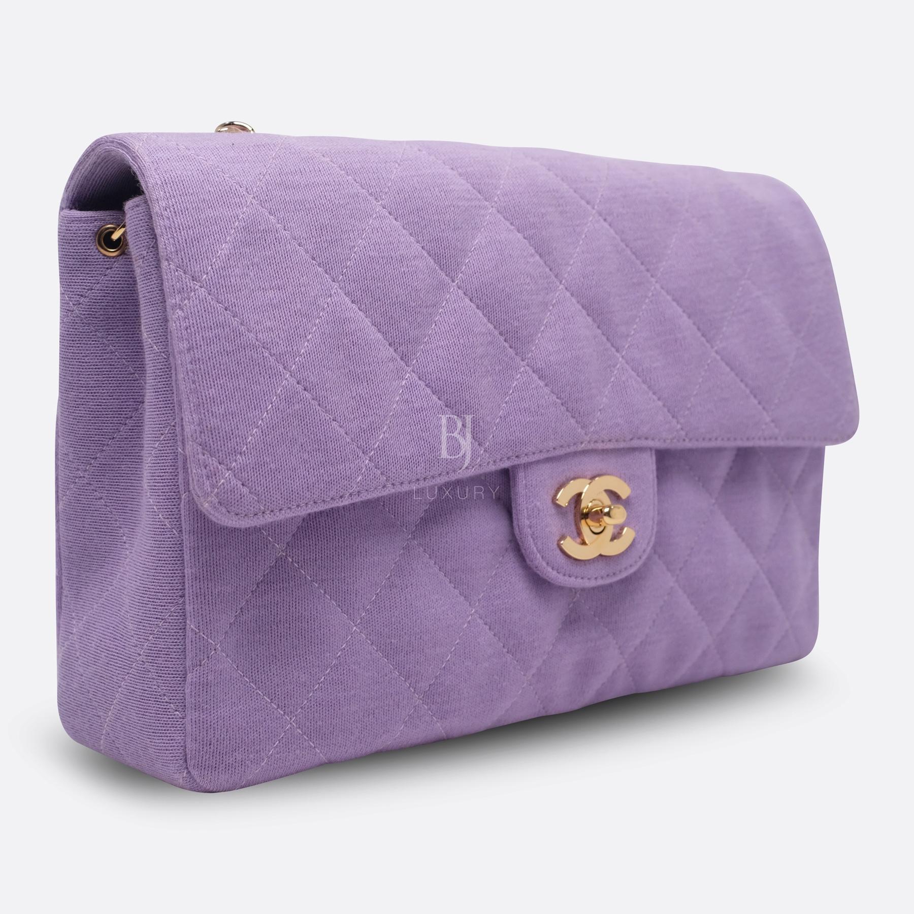 Chanel Flap Bag Medium Jersey Gold Lilac BJ Luxury 2.jpg