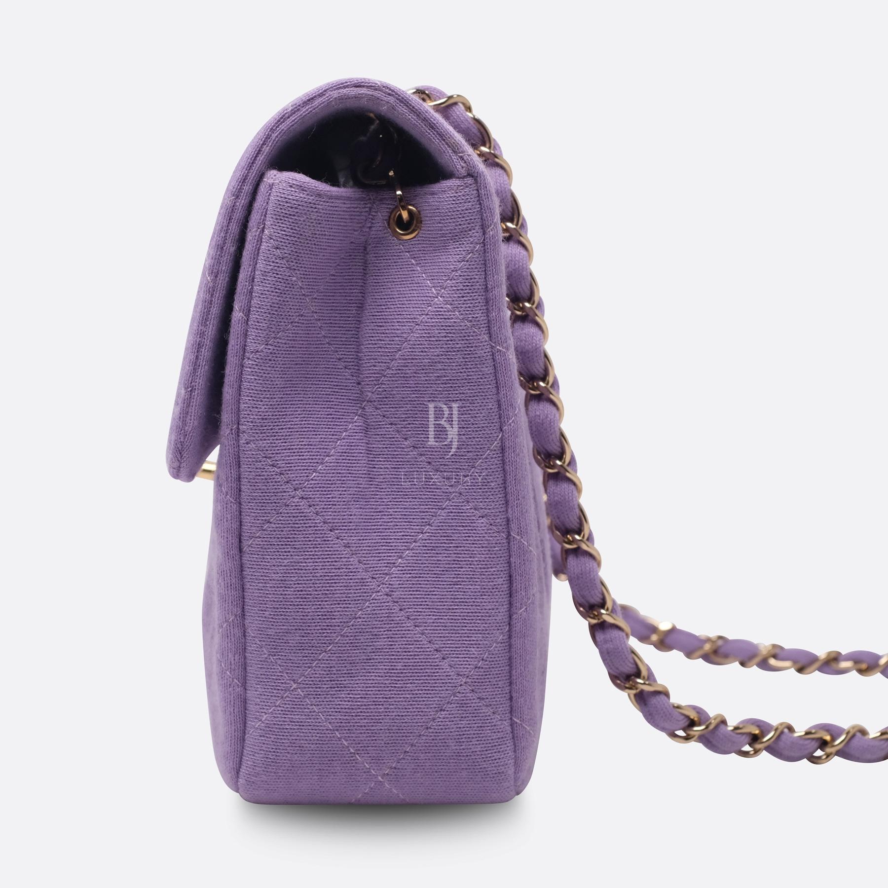 Chanel Flap Bag Medium Jersey Gold Lilac BJ Luxury 5.jpg