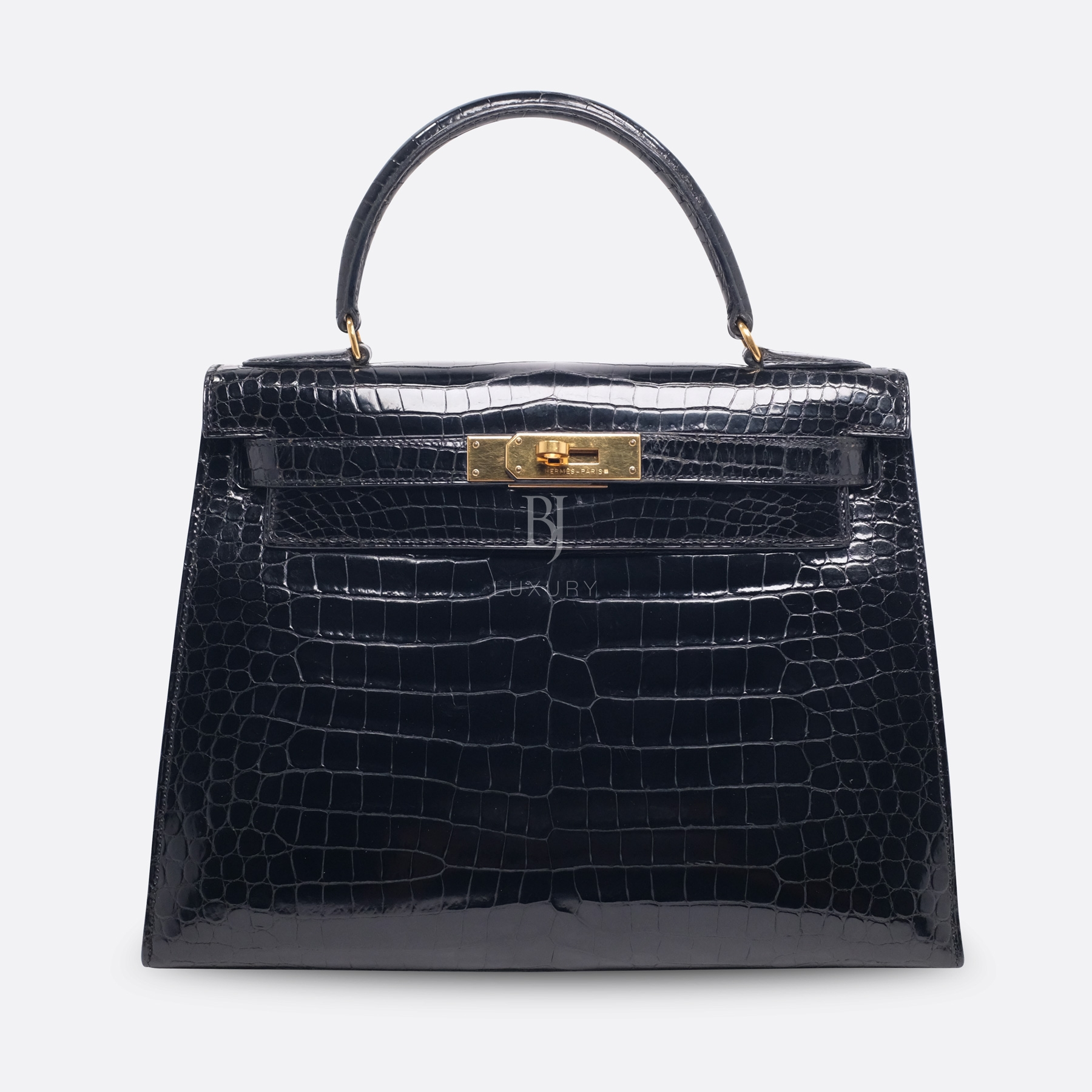 Hermes Kelly Sellier 28 Gold Black Porosus Crocodile BJ Luxury 1.jpg