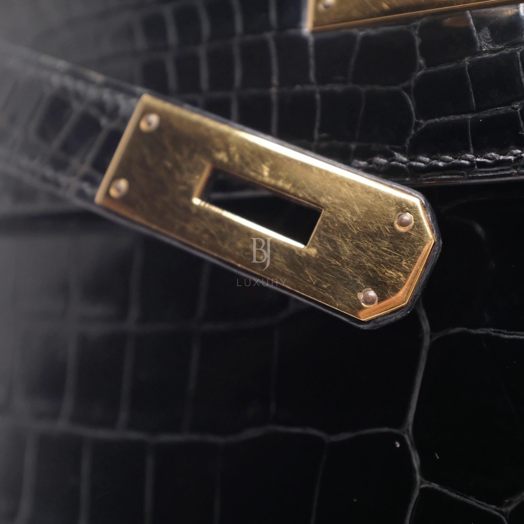 Hermes Kelly Sellier 28 Gold Black Porosus Crocodile BJ Luxury 13.jpg
