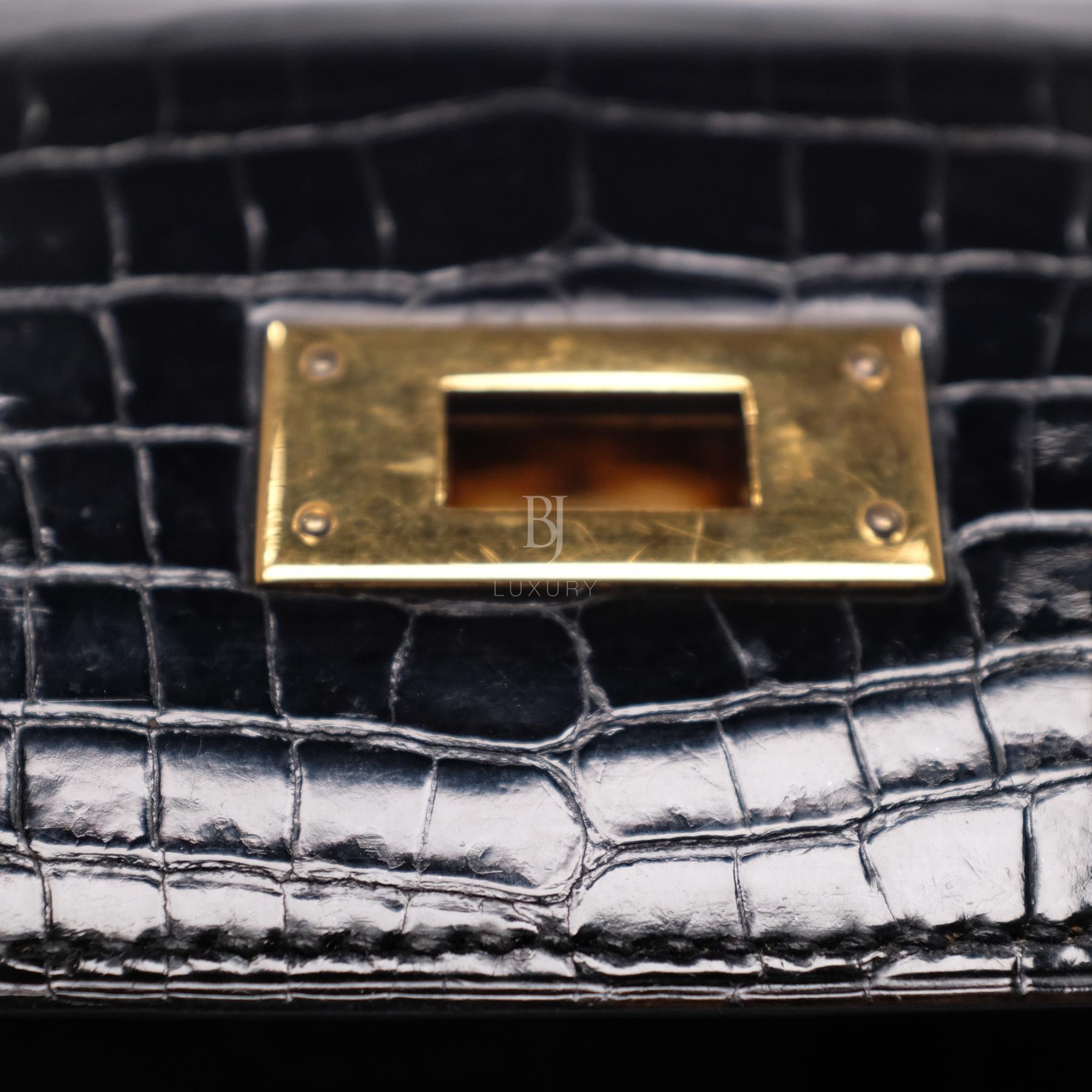 Hermes Kelly Sellier 28 Gold Black Porosus Crocodile BJ Luxury 14.jpg