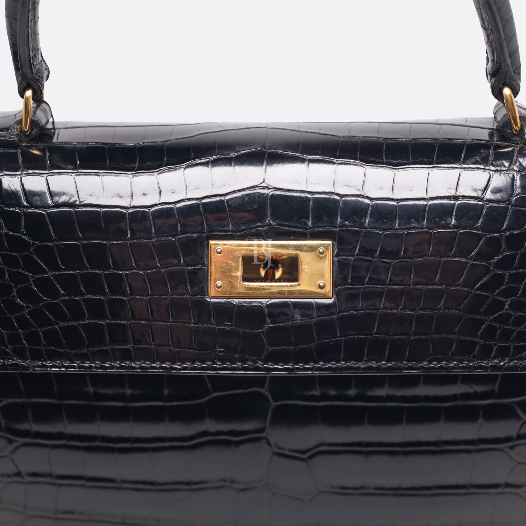 Hermes Kelly Sellier 28 Gold Black Porosus Crocodile BJ Luxury 15.jpg