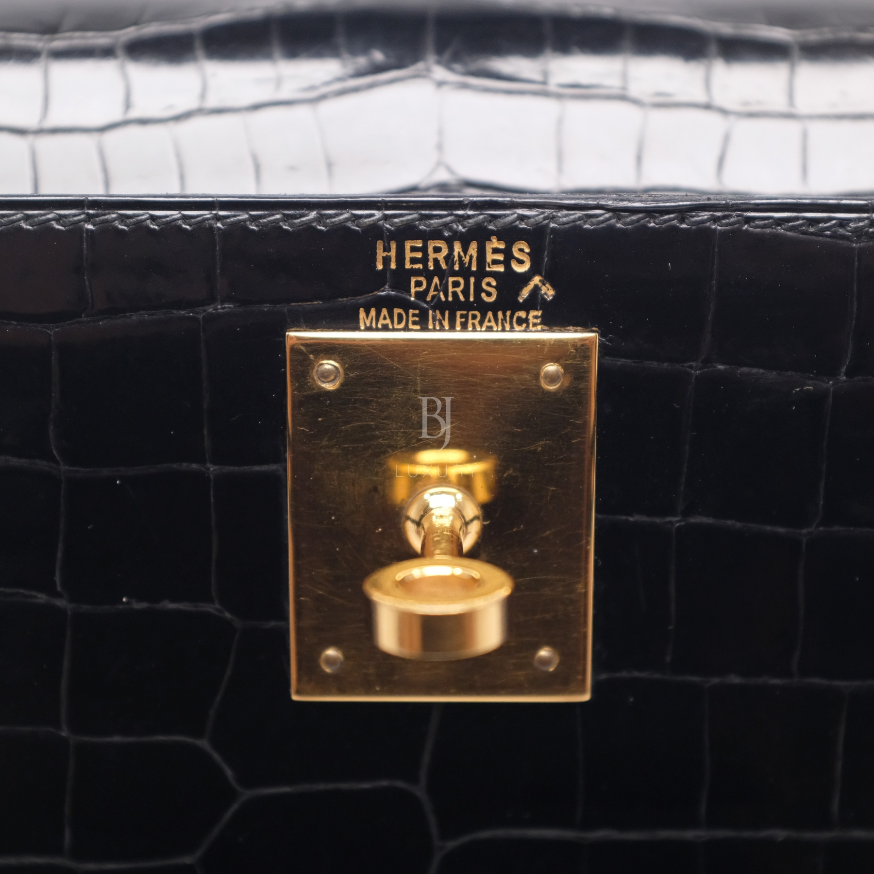 Hermes Kelly Sellier 28 Gold Black Porosus Crocodile BJ Luxury 16.jpg