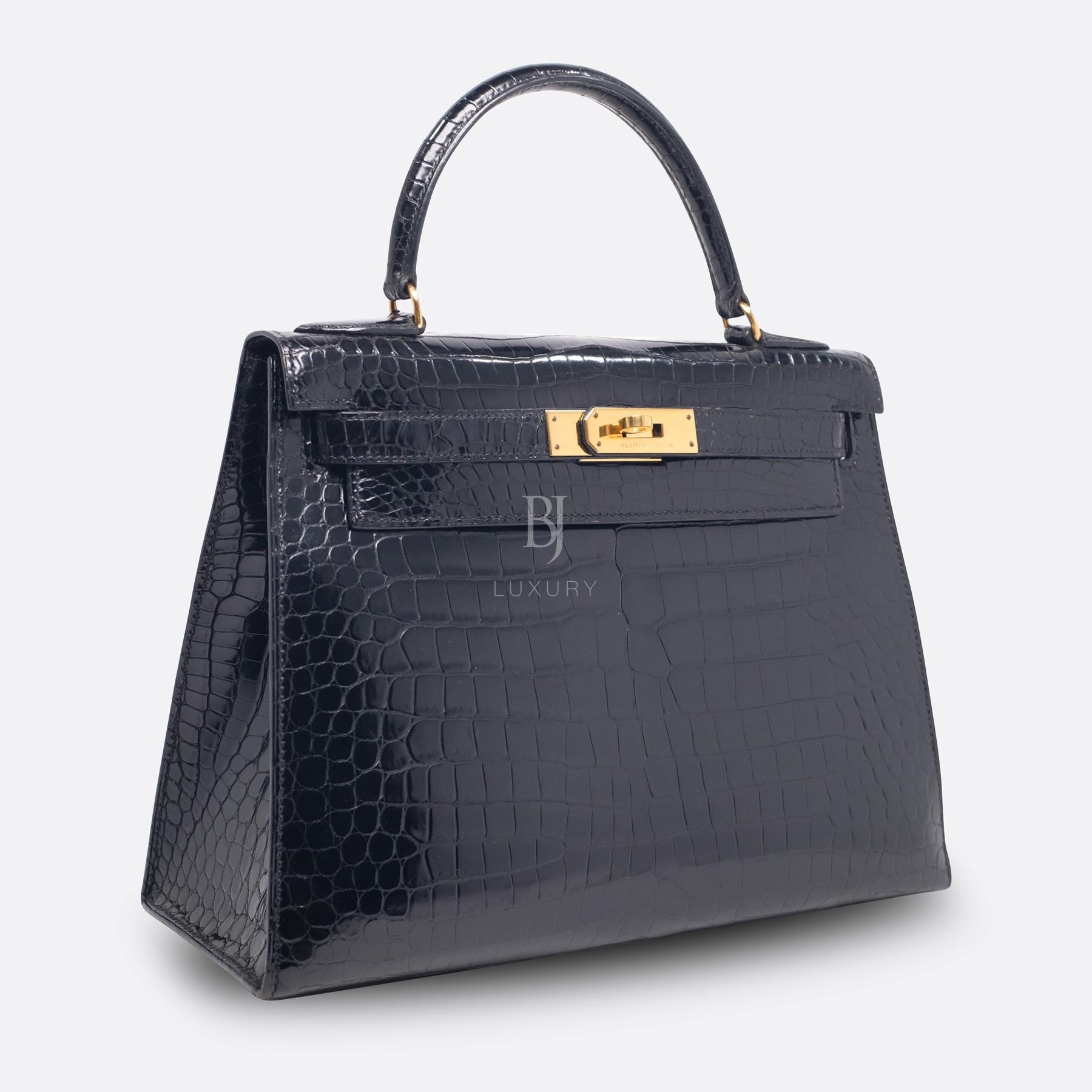 Hermes Kelly Sellier 28 Gold Black Porosus Crocodile BJ Luxury 2.jpg