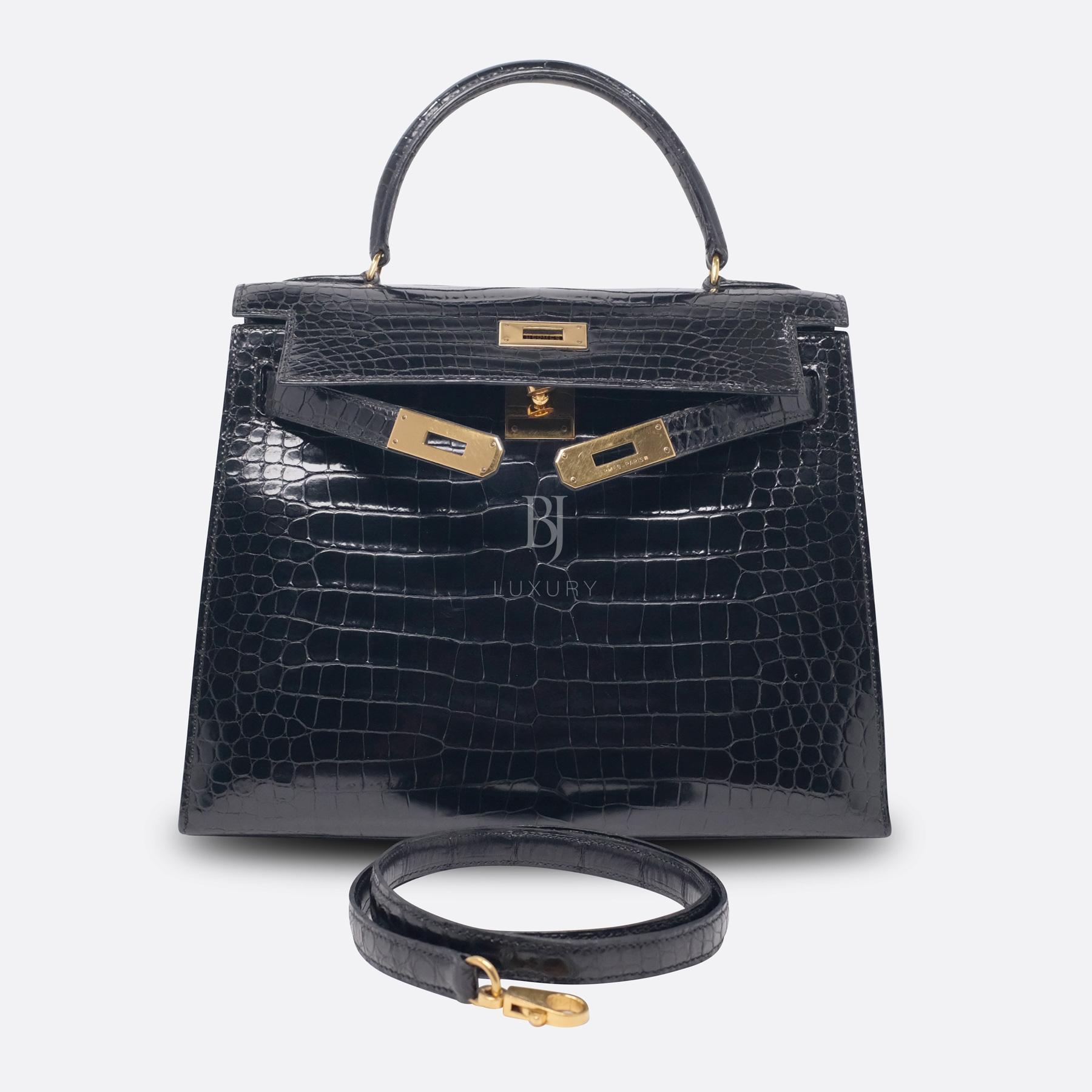 Hermes Kelly Sellier 28 Gold Black Porosus Crocodile BJ Luxury 21.jpg
