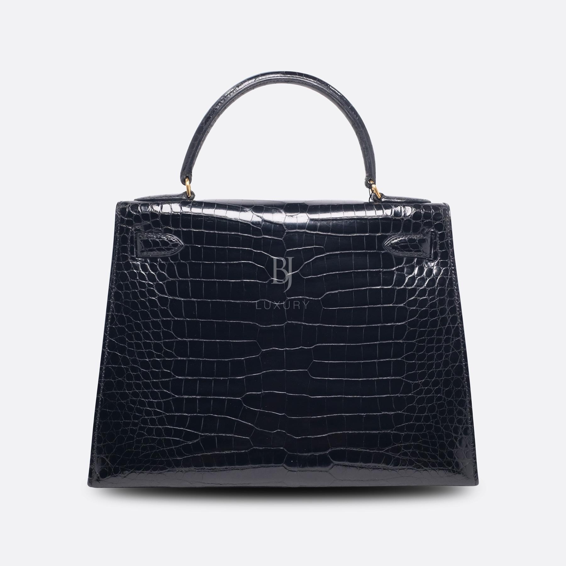Hermes Kelly Sellier 28 Gold Black Porosus Crocodile BJ Luxury 4.jpg