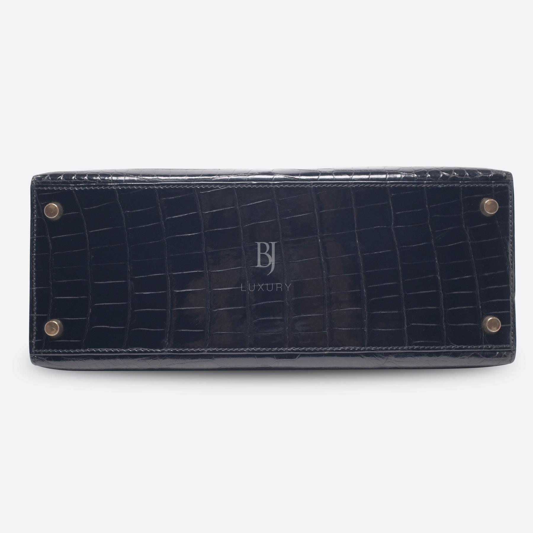 Hermes Kelly Sellier 28 Gold Black Porosus Crocodile BJ Luxury 6.jpg