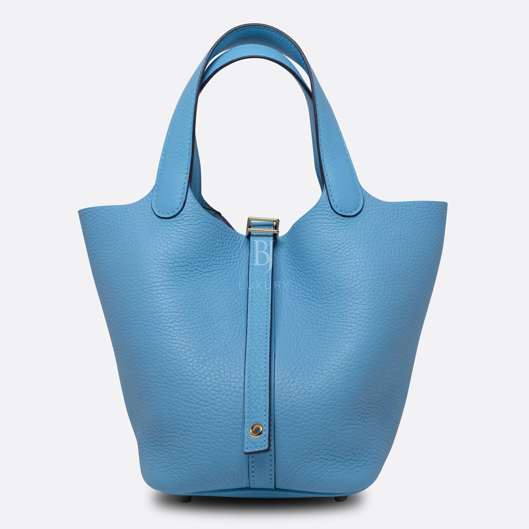 Hermes Picotin 18 Bleu Du Nord Clemence Gold BJ Luxury 1.jpg
