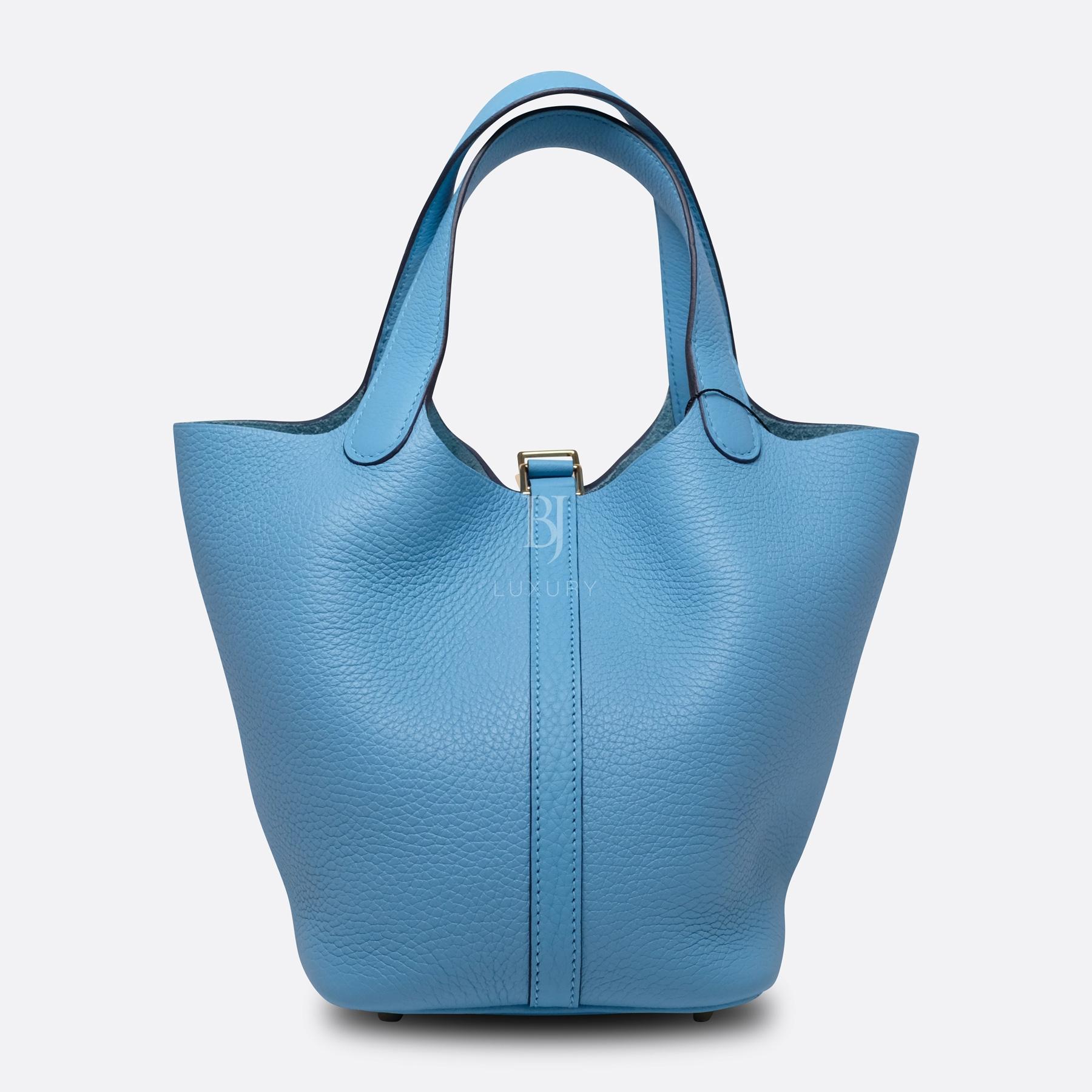 Hermes Picotin 18 Bleu Du Nord Clemence Gold BJ Luxury 3.jpg