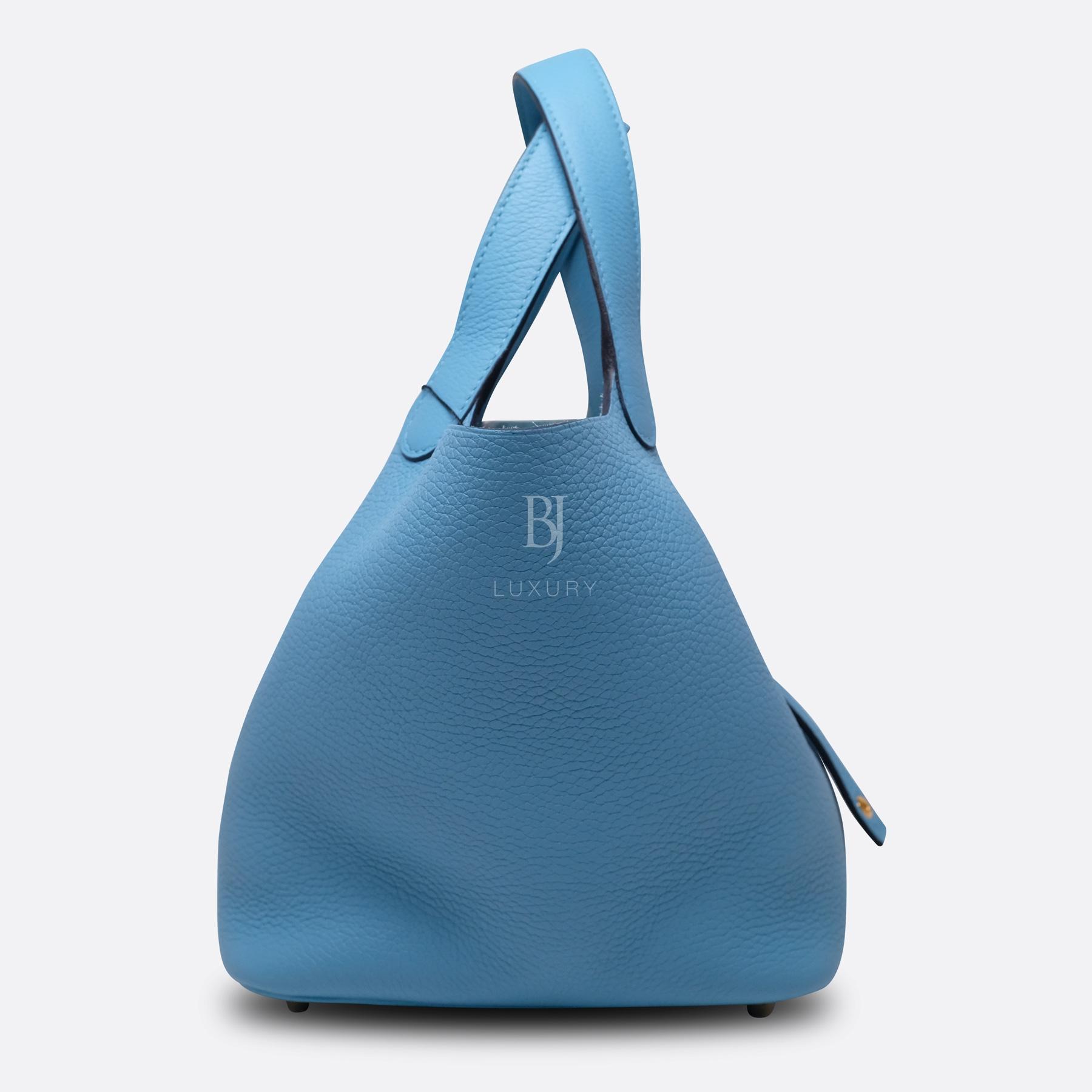 Hermes Picotin 18 Bleu Du Nord Clemence Gold BJ Luxury 4.jpg