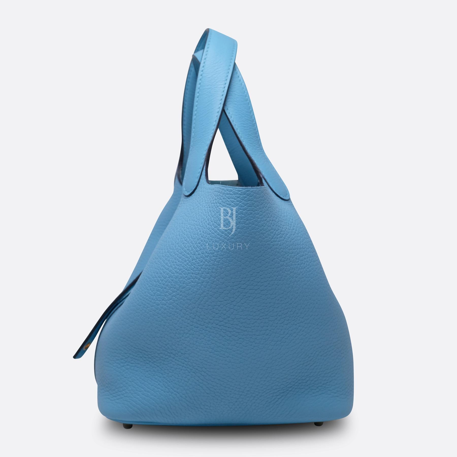 Hermes Picotin 18 Bleu Du Nord Clemence Gold BJ Luxury 5.jpg