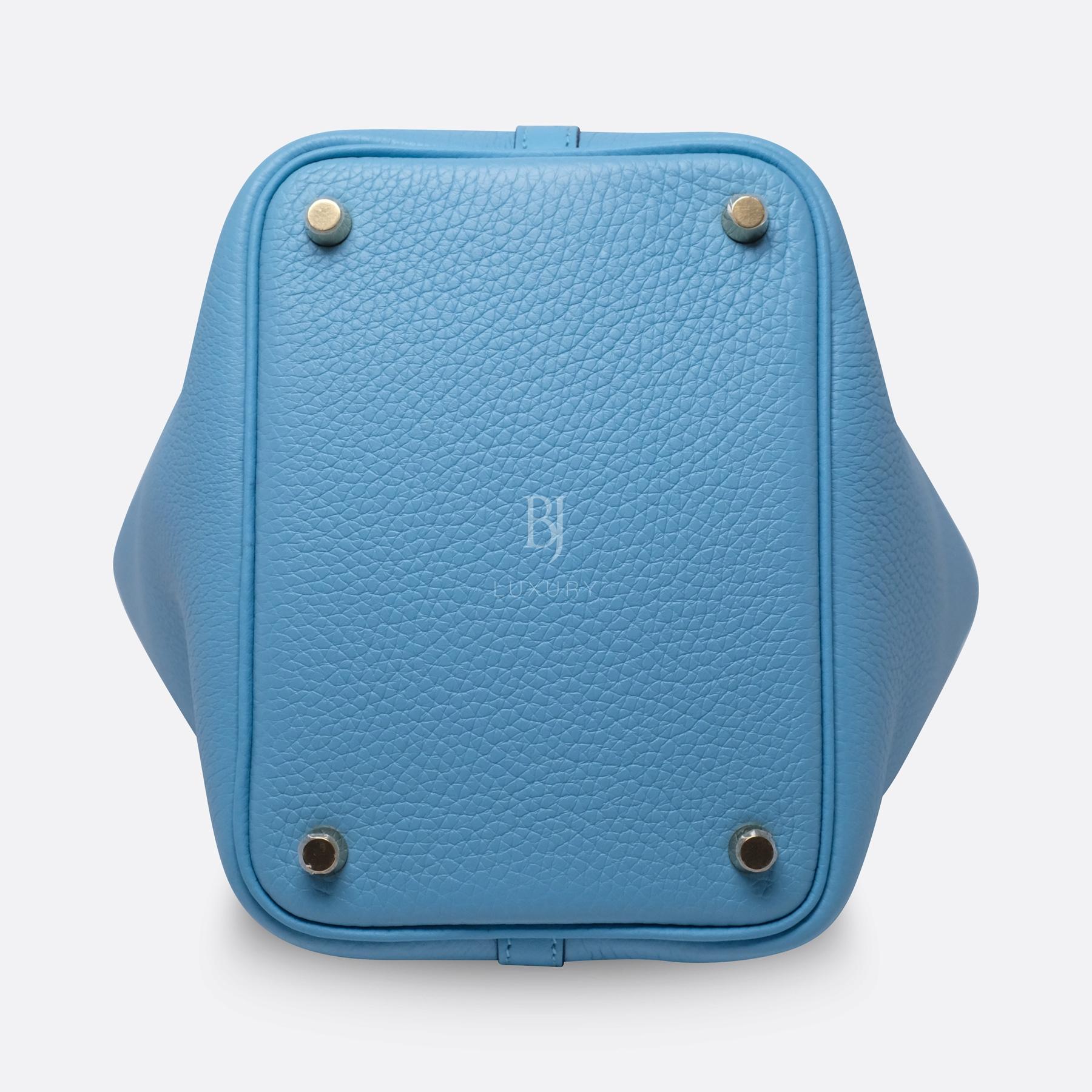 Hermes Picotin 18 Bleu Du Nord Clemence Gold BJ Luxury 6.jpg